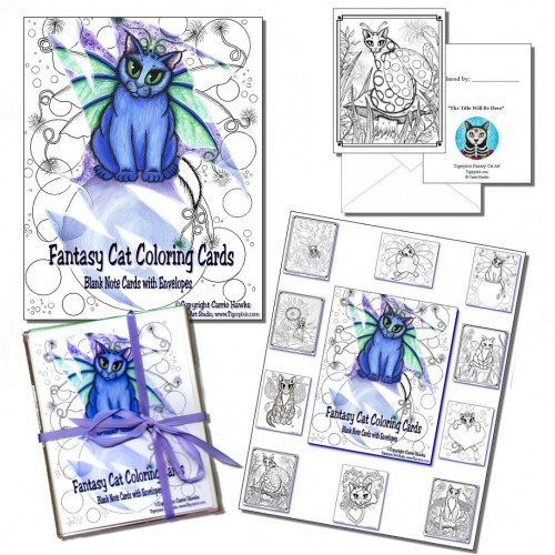 Coloring Note Cards Gift Set 1 -10 cards