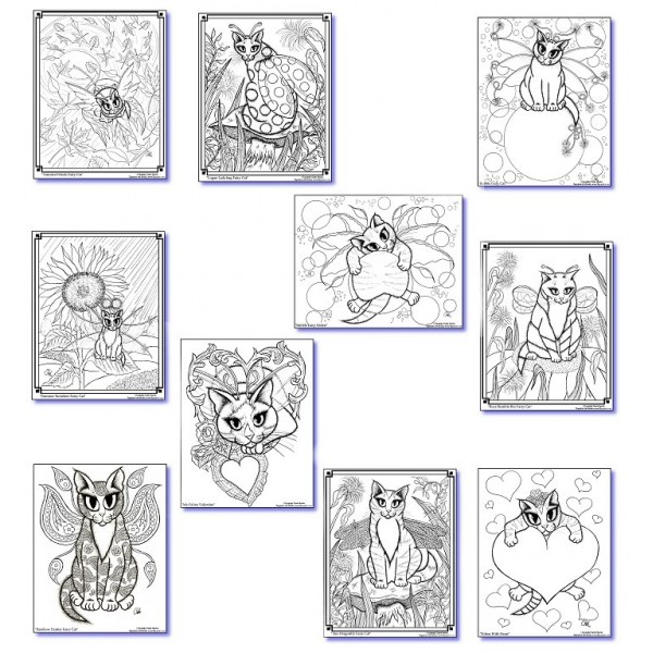 Cat Coloring Book, Cat Colouring Pages, Adult Coloring, Fairy Cats ...