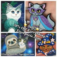 Holiday Sale! 20% Off Fantasy Cat Art at Tigerpixie.com! New Art, Purrincess Isadora! New Pins Wizard Cat Blue! Cheshire Cat Patreon Exclusive Pin