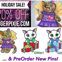 Holiday Sales! New Art! 3 New Enamel Pins! Tigerpixie.com, Etsy, FAA/Pixels!