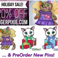 Holiday Sales! New Art! 3 New Enamel Pins! Tigerpixie.com, Etsy, FAA/Pixels!