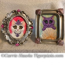 New Mini Princess & Mercat Framed Art! Day of the Dead Cat Mini Art, Computer Crisis Sale Ends 10/23! Patreon Oct Giveaway Soon