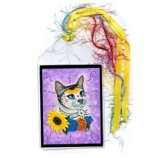Bookmark - Day of the Dead Cat Sunflowers