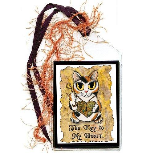 Bookmark - Steampunk Valentine Cat