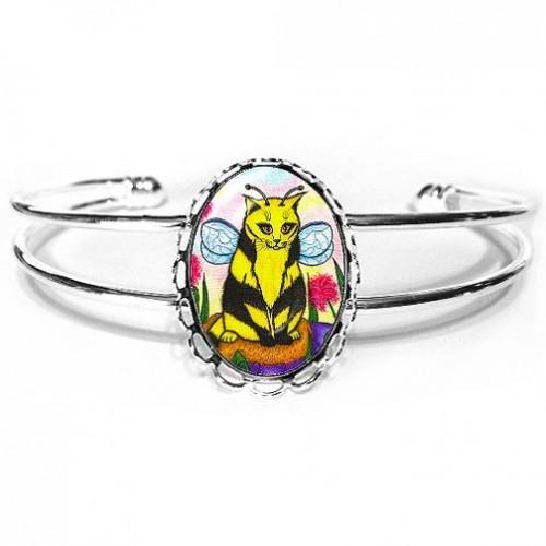Cuff Bracelet - Buzz Bumble Bee Cat