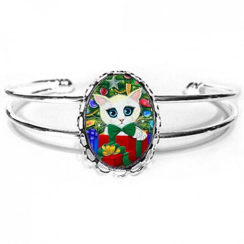 Cuff Bracelet - Christmas Kitten Boy