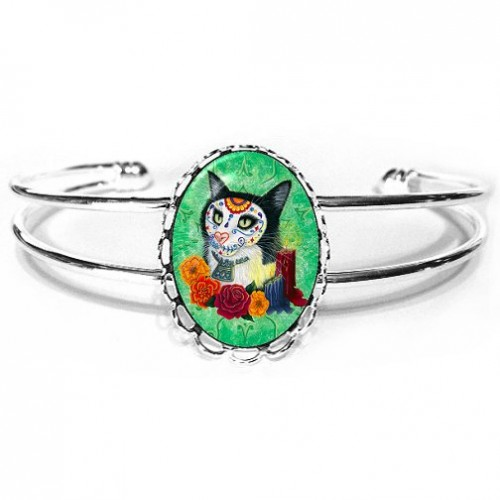 Cuff Bracelet - Day of the Dead Cat Candles