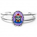 Cuff Bracelet - Day of the Dead Cat Gal