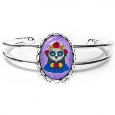 Cuff Bracelet - Day of the Dead Cat Gal