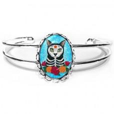 Cuff Bracelet - Day of the Dead Cat