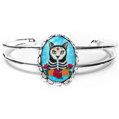Cuff Bracelet - Day of the Dead Cat