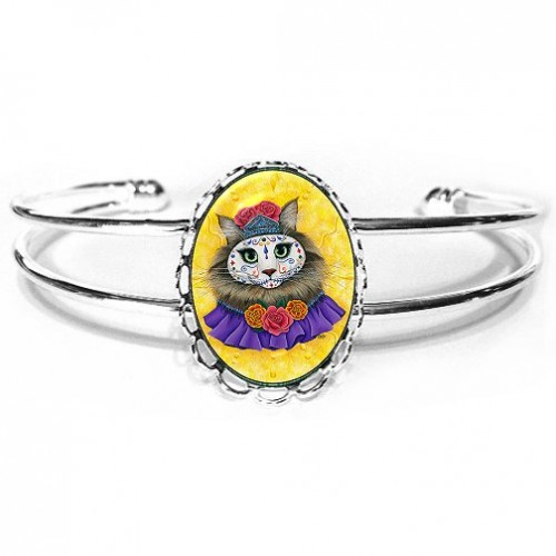 Cuff Bracelet - Day of the Dead Cat Princess