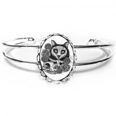 Cuff Bracelet - Day of the Dead Cat Skull