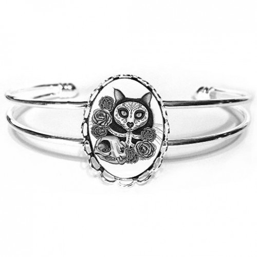 Cuff Bracelet - Day of the Dead Cat Skull