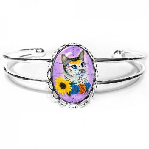 Cuff Bracelet - Day of the Dead Cat Sunflowers