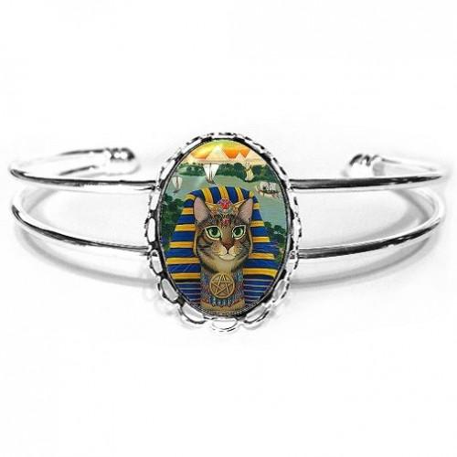 Cuff Bracelet - Egyptian Pharaoh Cat