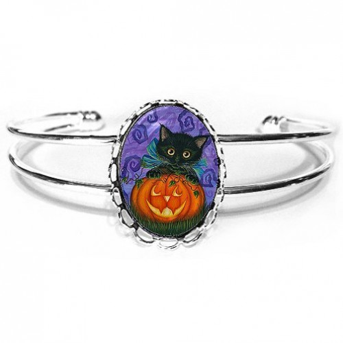 Cuff Bracelet - Halloween Black Kitty