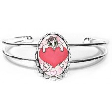 Cuff Bracelet - Kitten With Heart