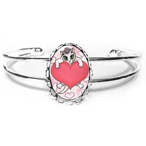 Cuff Bracelet - Kitten With Heart