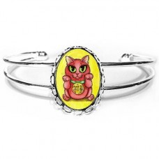 Cuff Bracelet - Maneki Neko Protection Cat