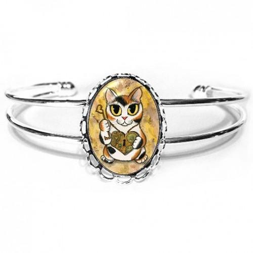Cuff Bracelet - Steampunk Valentine Cat