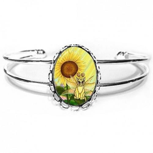Cuff Bracelet - Summer Sunshine Fairy Cat