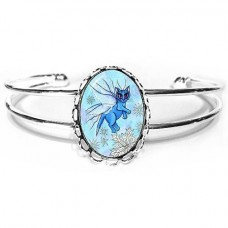 Cuff Bracelet - Winter Snowflake Fairy Cat