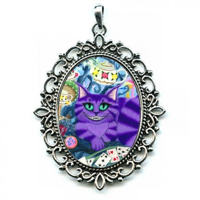 Cat cameo necklace cheshire cat alice in wonderland for Cat in the hat jewelry