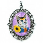 Cameo - Day of the Dead Cat Sunflowers