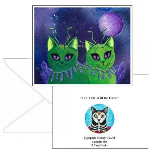 Note Card - Alien Cats