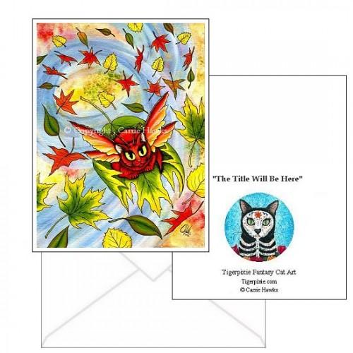 Note Card - Autumn Winds Fairy Cat