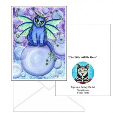 Note Card - Bubble Fairy Cat