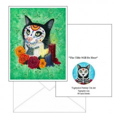 Note Card - Day of the Dead Cat Candles