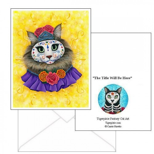Note Card - Day of the Dead Cat Princess