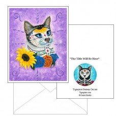 Note Card - Day of the Dead Cat Sunflowers