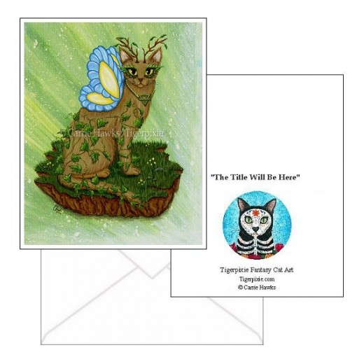 Note Card - Elemental Earth Fairy Cat