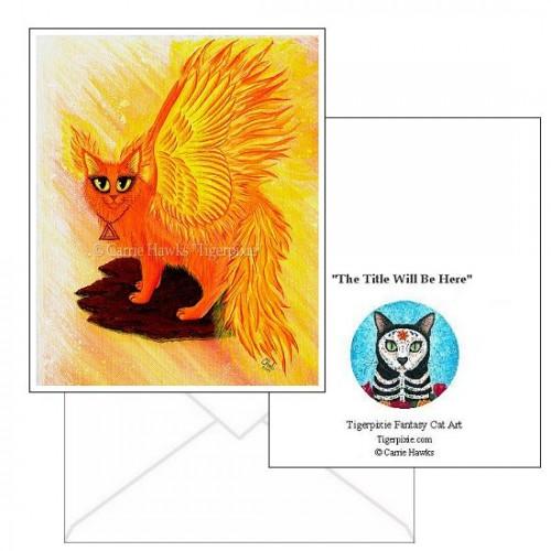 Note Card - Elemental Fire Fairy Cat