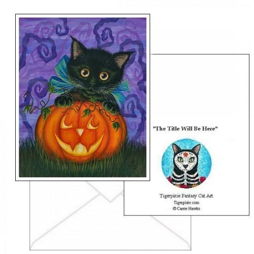 Note Card - Halloween Black Kitty