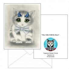 Note Card - Little Blue Horns