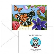 Note Card - Monarch Butterfly Fairy Cat