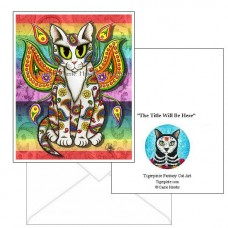 Note Card - Rainbow Paisley Fairy Cat