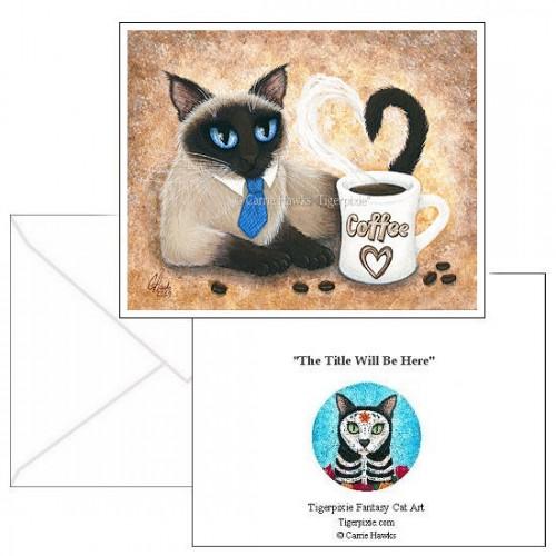 Note Card - Siamese Coffee Cat