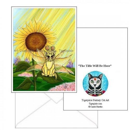 Note Card - Summer Sunshine Fairy Cat
