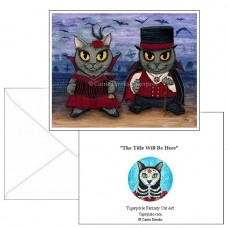 Note Card - Vampire Cat Couple