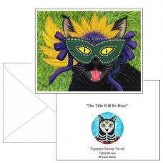 Note Card - Wild Mardi Gras Cat