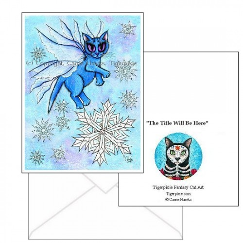 Note Card - Winter Snowflake Fairy Cat
