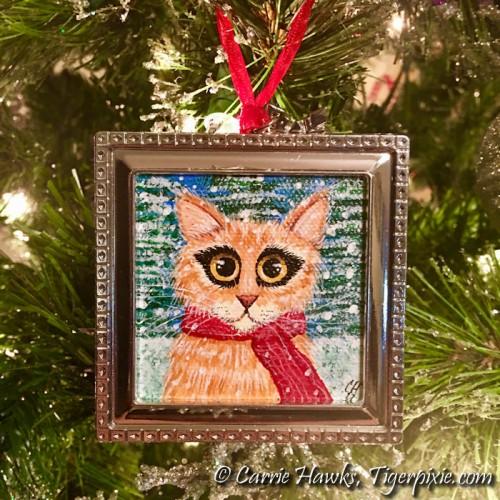 Original - Christmas Kitty #5 - Framed Ornament