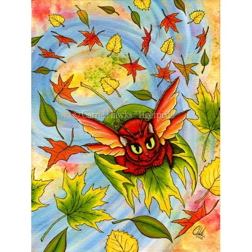 Prints - Autumn Winds Fairy Cat