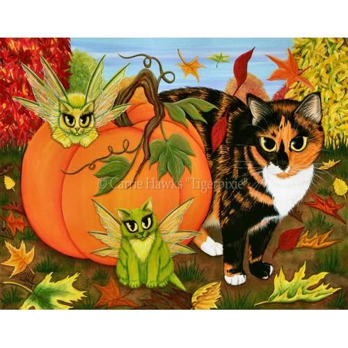 Prints - Calico's Mystical Pumpkin