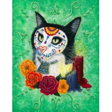 LE Canvas - Day of the Dead Cat Candles